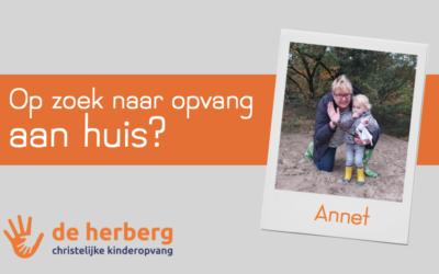 Gastouder Annet is beschikbaar voor opvang aan huis!